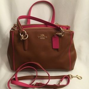 NWT Coach 3 Section Bag - Brown w/ Pink Trim+Strap